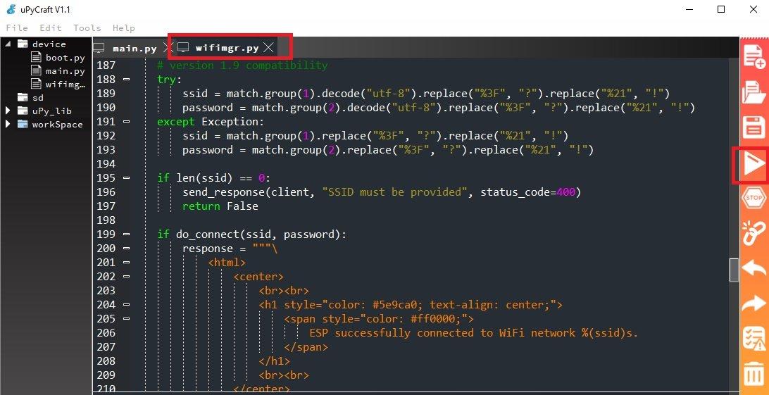 micropython wifi manager library upload upycraft ide 5