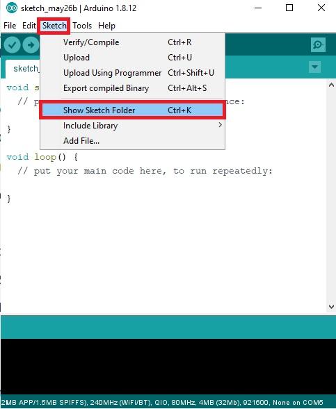 open sketch folder Arduino IDE