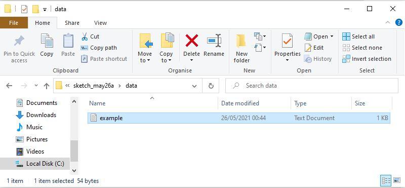 save file in data folder