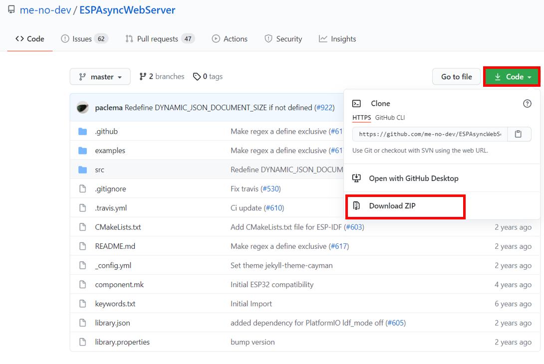 Asynchronous Web Server ESPAsyncWebServer Library