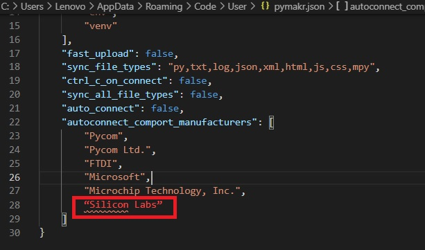 Connecting micropython devices to Pymakr visual studio code 1
