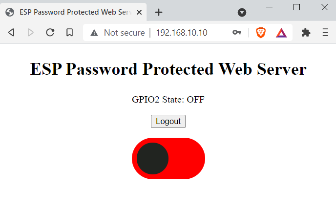 ESP password protected web server Led off