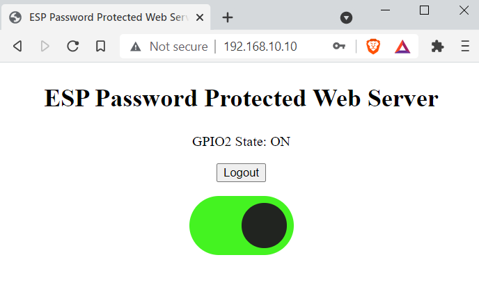 ESP password protected web server Led on