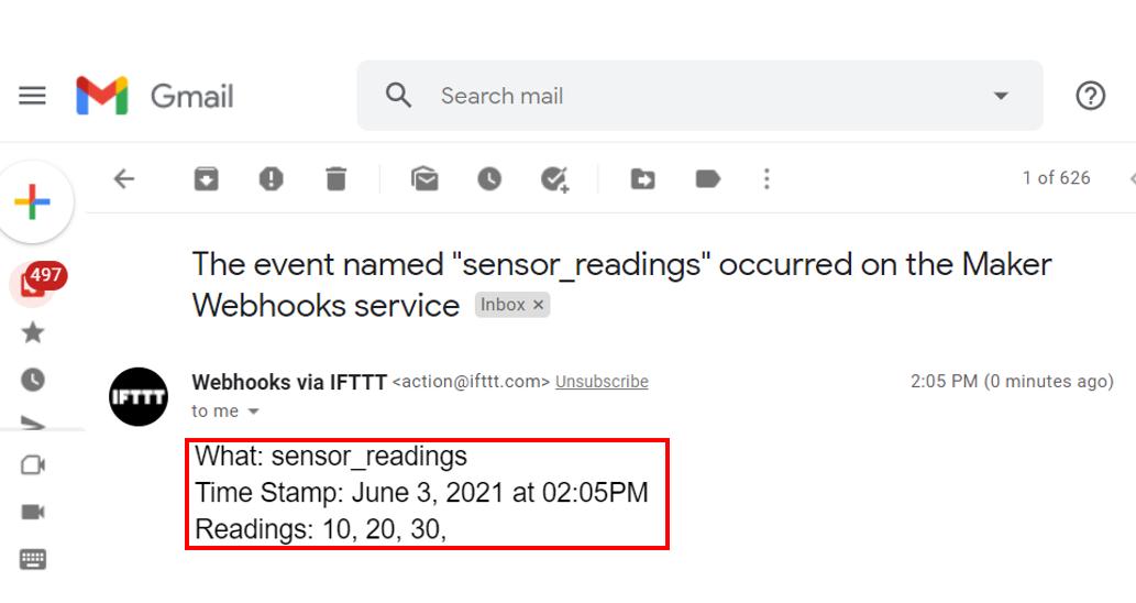 ESP32 HTTP POST IFTTT testing email