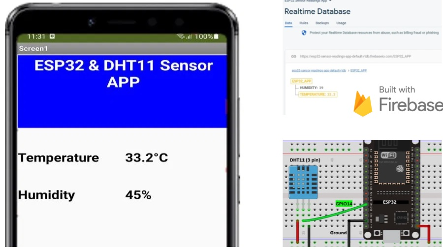 ESP32 Send Sensor Readings to Google Firebase and Build an Android app to display Data