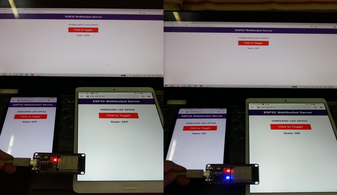 ESP32 WebSocket Server demo with multiple clients