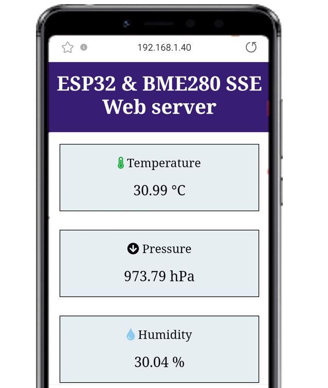ESP32 and BME280 SSE Web server