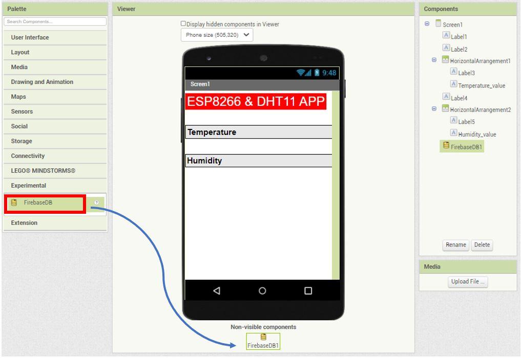 ESP8266 Google Firebase build your own app MIT Inventor 12