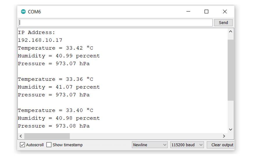 ESP8266 and BME280 SSE Web server demo serial monitor
