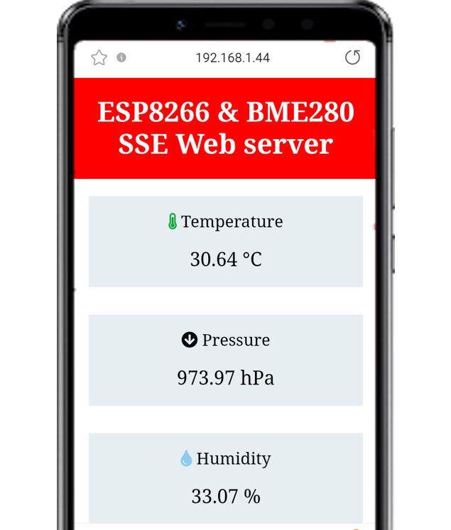 ESP8266 and BME280 SSE Web server