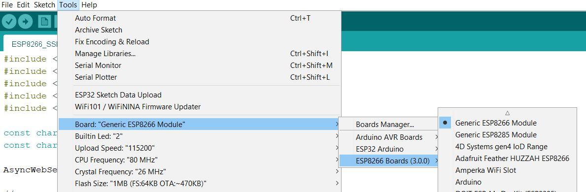 ESP8266 board select