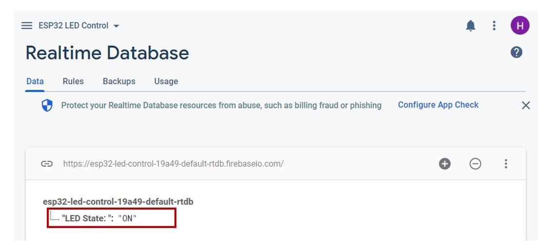 Google Firebase demo realtime database ON