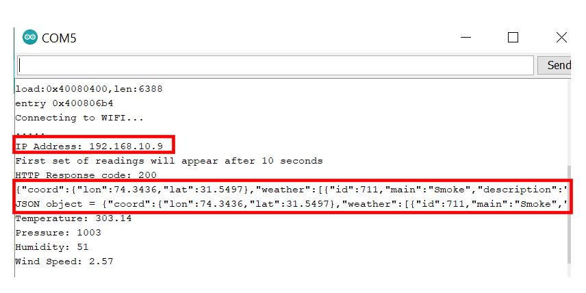 HTTP GET OpenWeatherMap Serial Monitor demo1