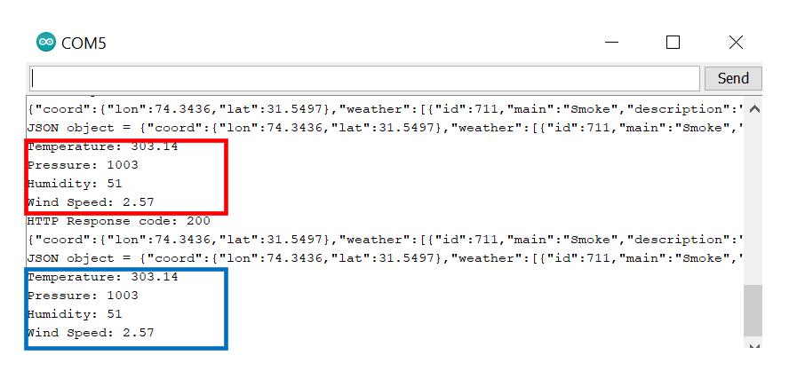 HTTP GET OpenWeatherMap Serial Monitor demo2