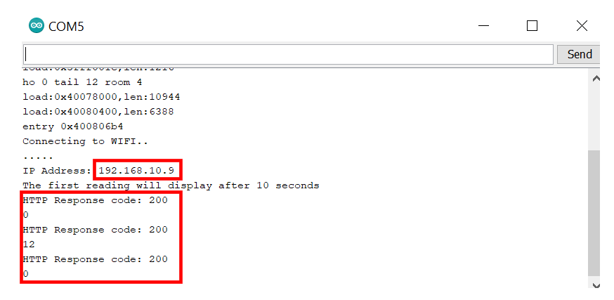 HTTP GET ThingSpeak serial monitor demo