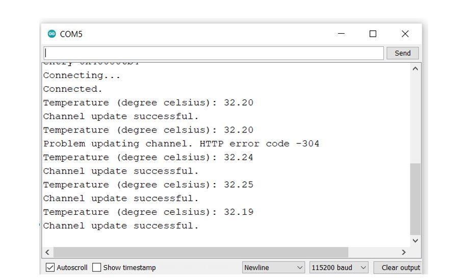 thingspeak publish sensor readings single field serial monitor demo