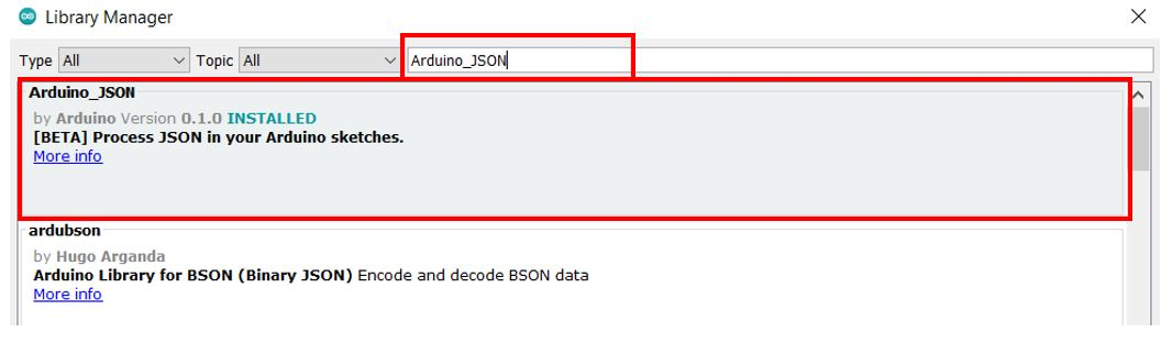 Arduino_Json library by arduino install