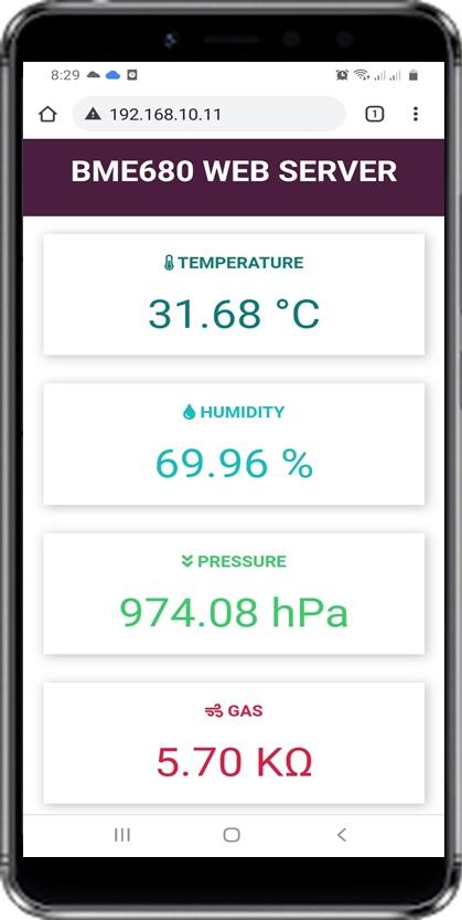 BME680 web server ESP32 Arduino demo mobile
