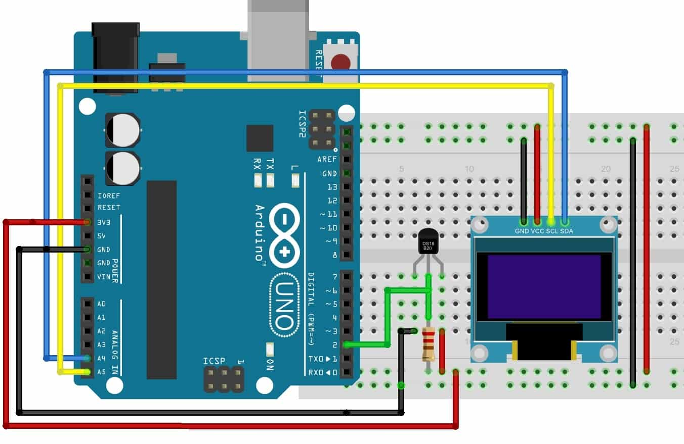 DS18B20 interfacing with OLED and Arduino connection diagram