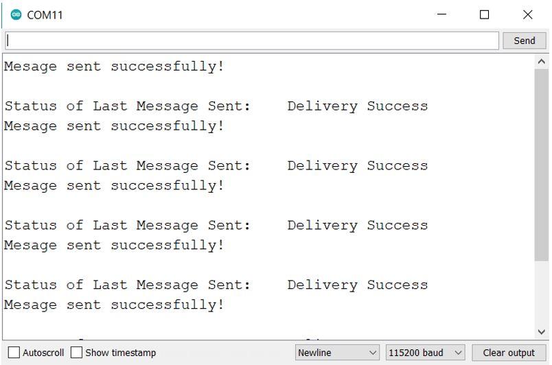 ESP NOW one way communication sender side serial monitor demo