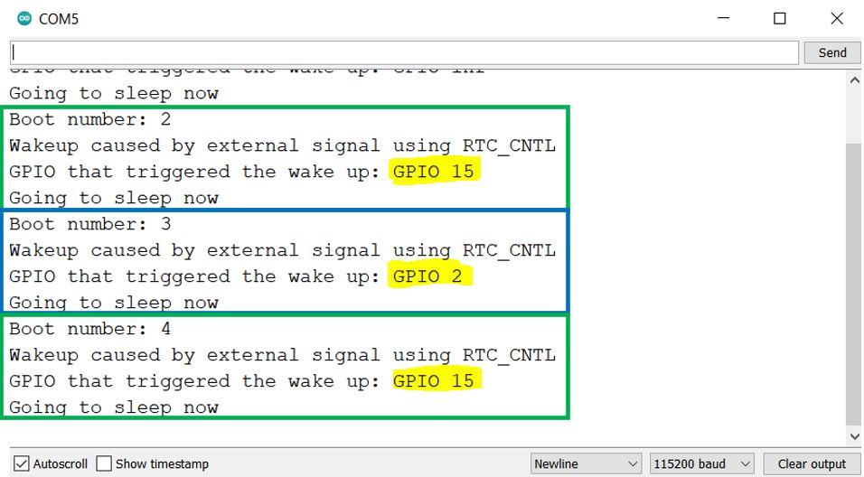 ESP32 Deep sleep ext1 wake up serial monitor
