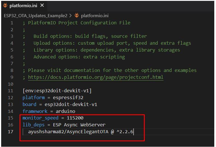 ESP32 OTA Updates VS Code Example2 pic1