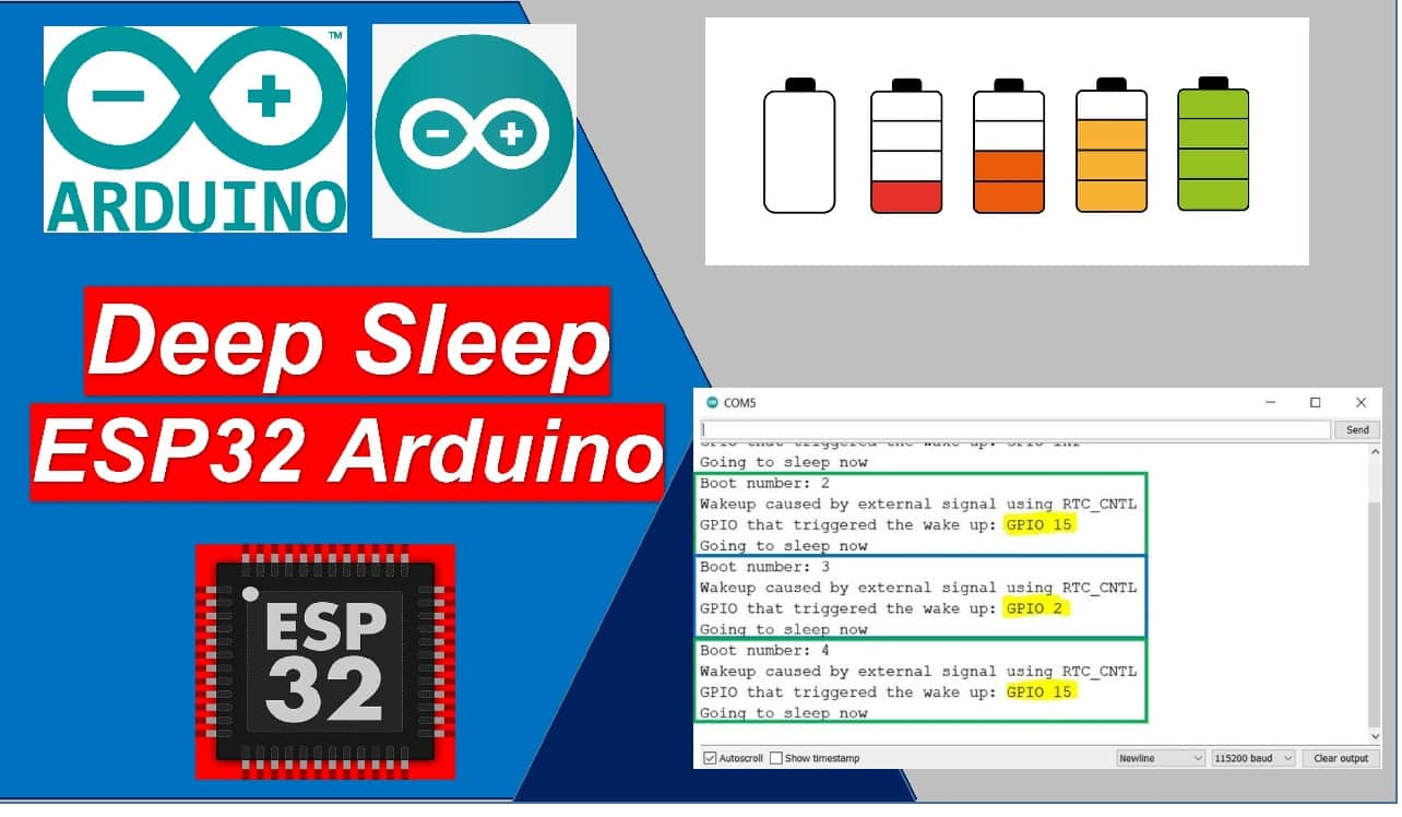 ESP32 deep sleep wake up sources arduino ide