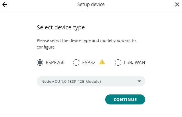 ESP8266 Arduino IoT cloud selecting device