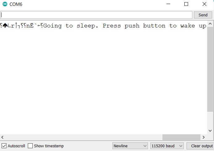 ESP8266 Deep sleep external wake up serial monitor demo