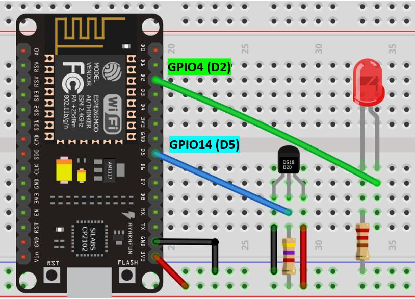 ESP8266 ds18b20 with led schematic diagram