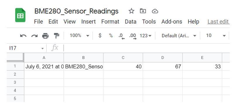 Publish sensor readings to Google Sheets Google drive2