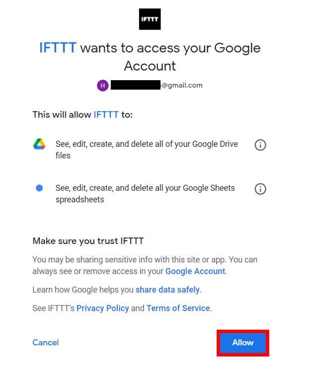 Publish sensor readings to Google Sheets permission IFTTT