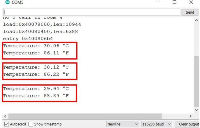 display ds18b20 temperature sensor values arduino serial monitor