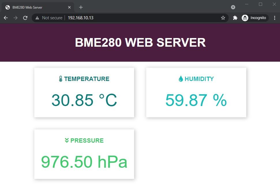 BME280 web server esp8266 nodemcu arduino ide