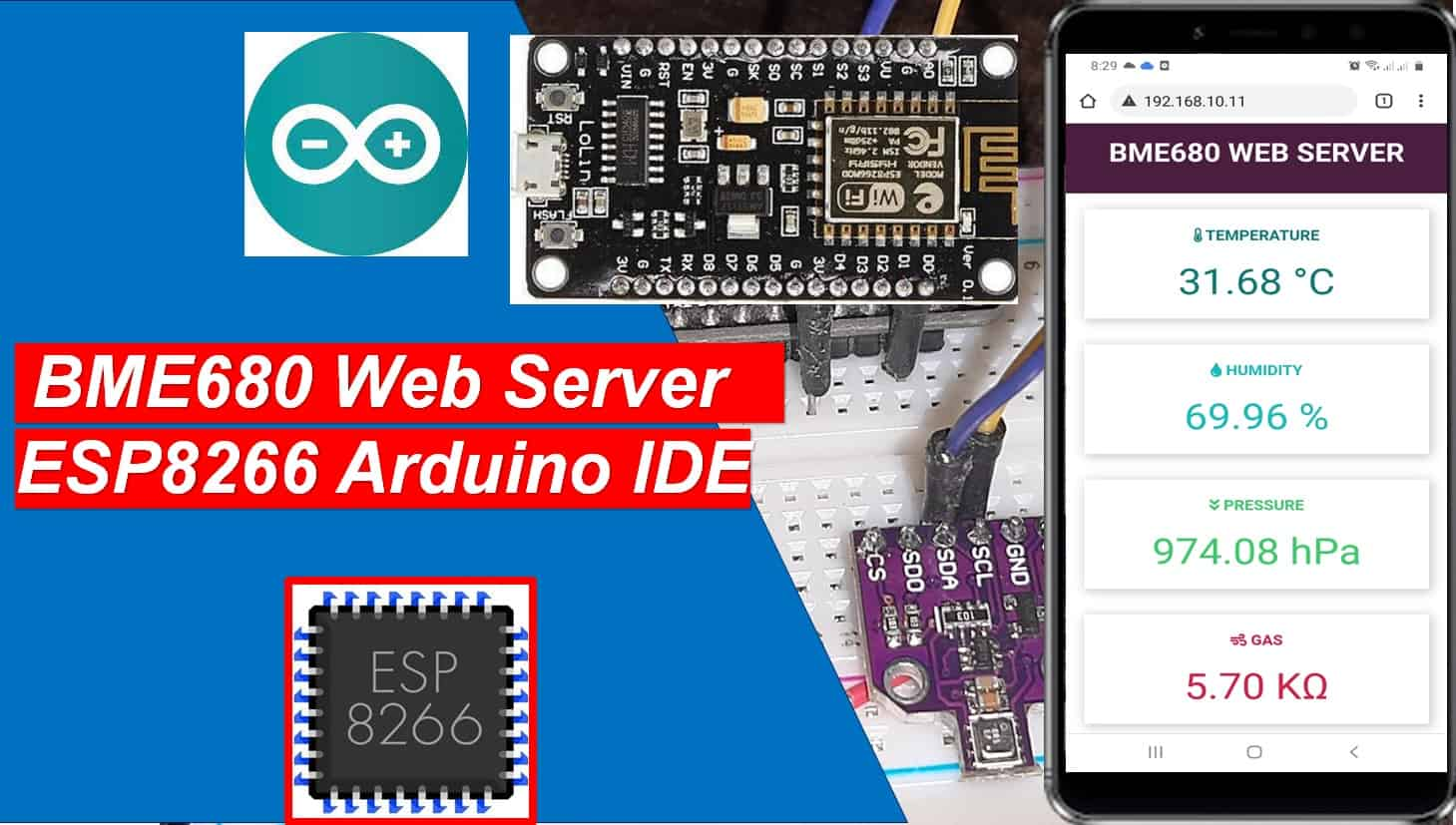 BME680 web server using ESP8266 Arduino IDE temperature pressure humidity gas