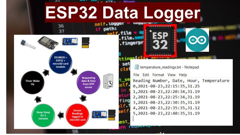 ESP32 Data Logging Temperature Sensor Readings to microSD card (Arduino IDE)