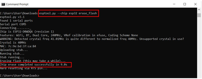 ESP32 erasing flash memory