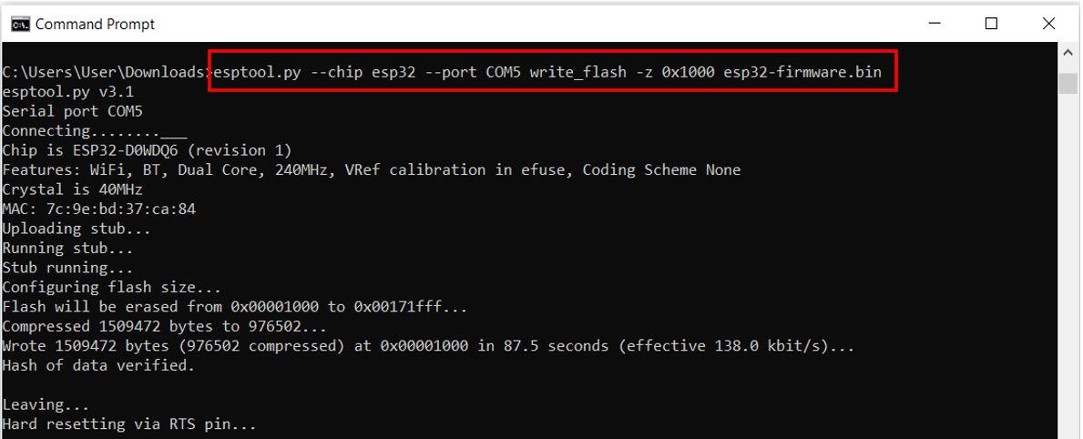 ESP32 flashing micropython firmware via esptool