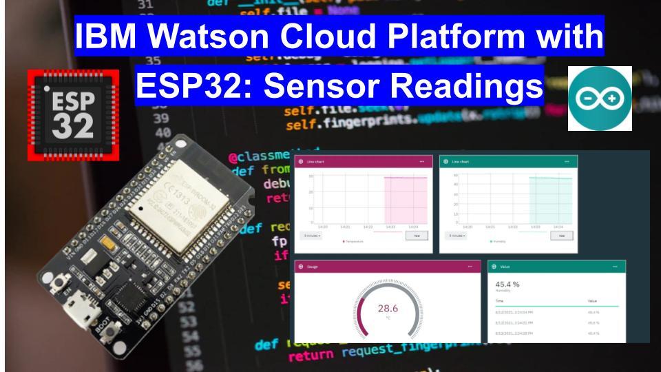 IBM Watson Cloud Platform with ESP32 Display sensor readings in dashboard