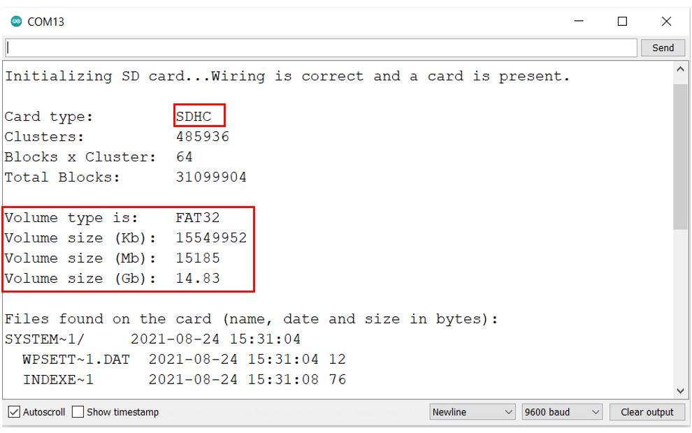 microSD card module with Arduino uno card info serial monitor demo