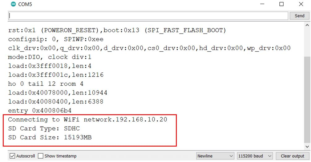 microSD card web server demo serial monitor