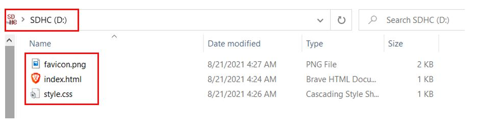 microSD card web server saving files