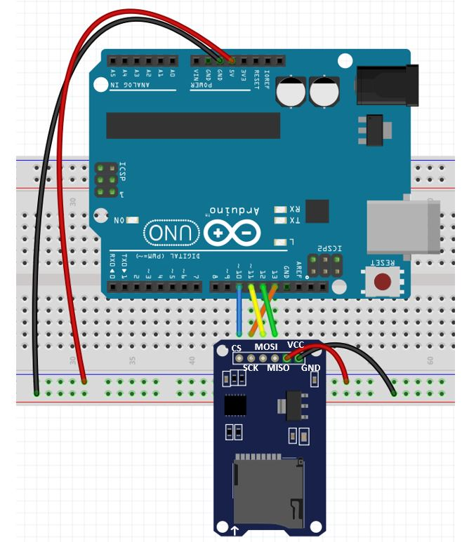 microsSD card module with Arduino Uno schematic diagram
