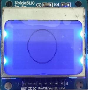 Arduino Nokia 5110 LCD display circle