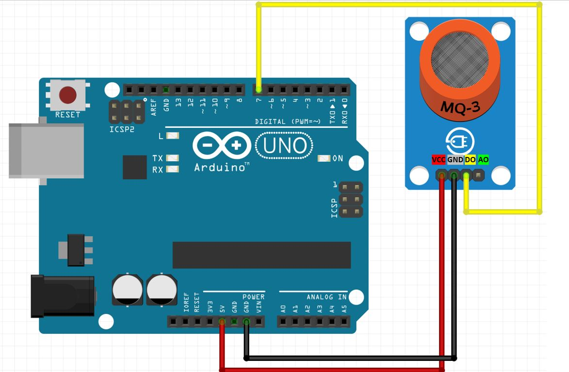 Arduino UNO with MQ3 digital output