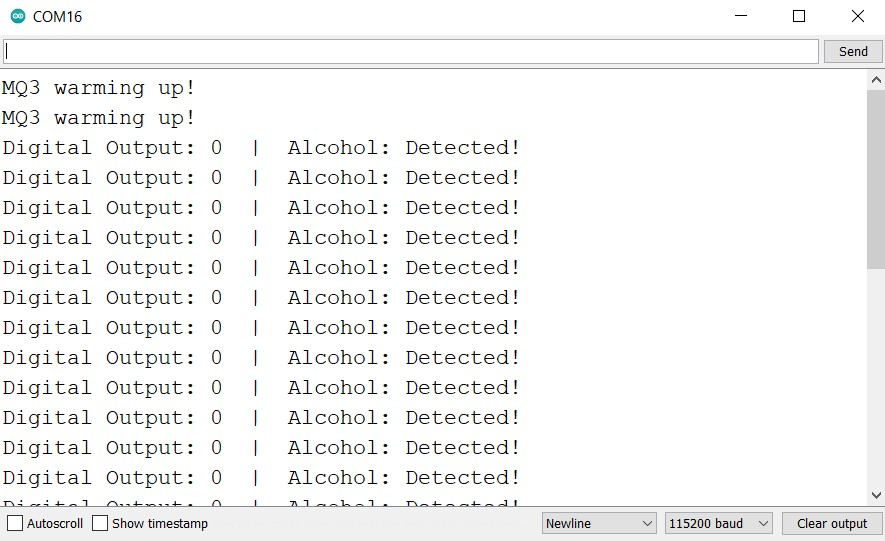Arduino UNO with MQ3 module alcohol test serial monitor