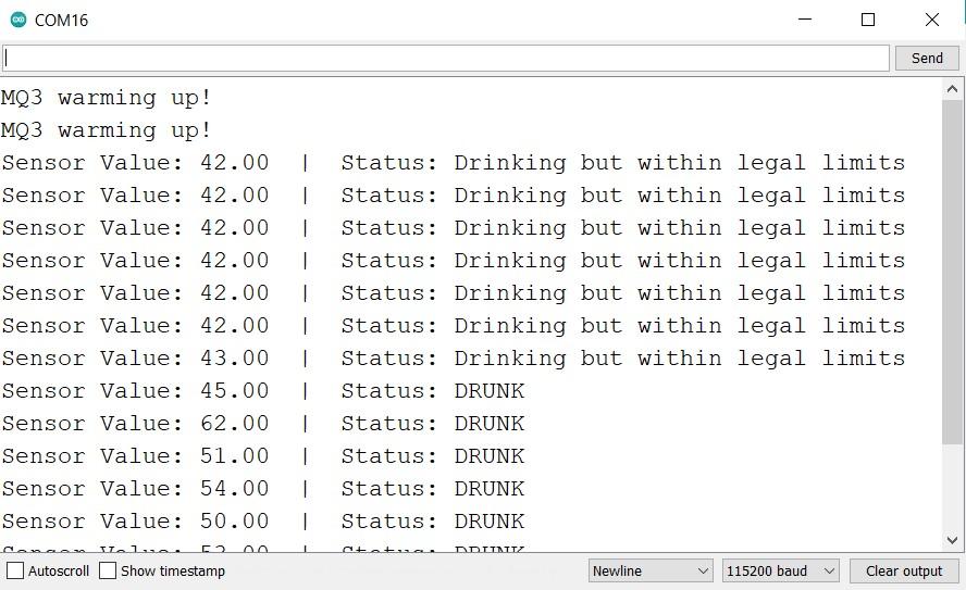 Arduino UNO with MQ3 module drunk test serial monitor