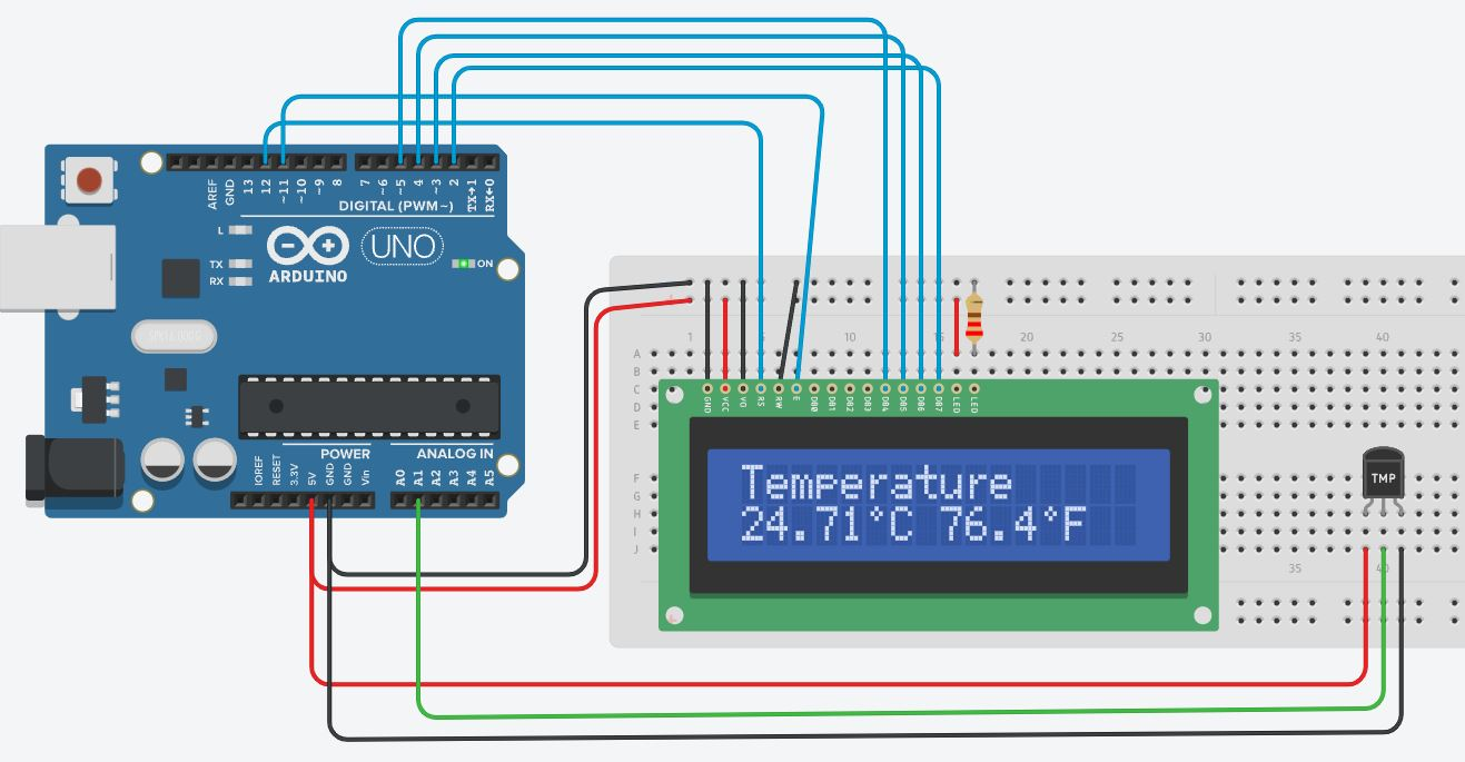 Arduino UNO with TMP36 sensor and 16x2 LCD demo