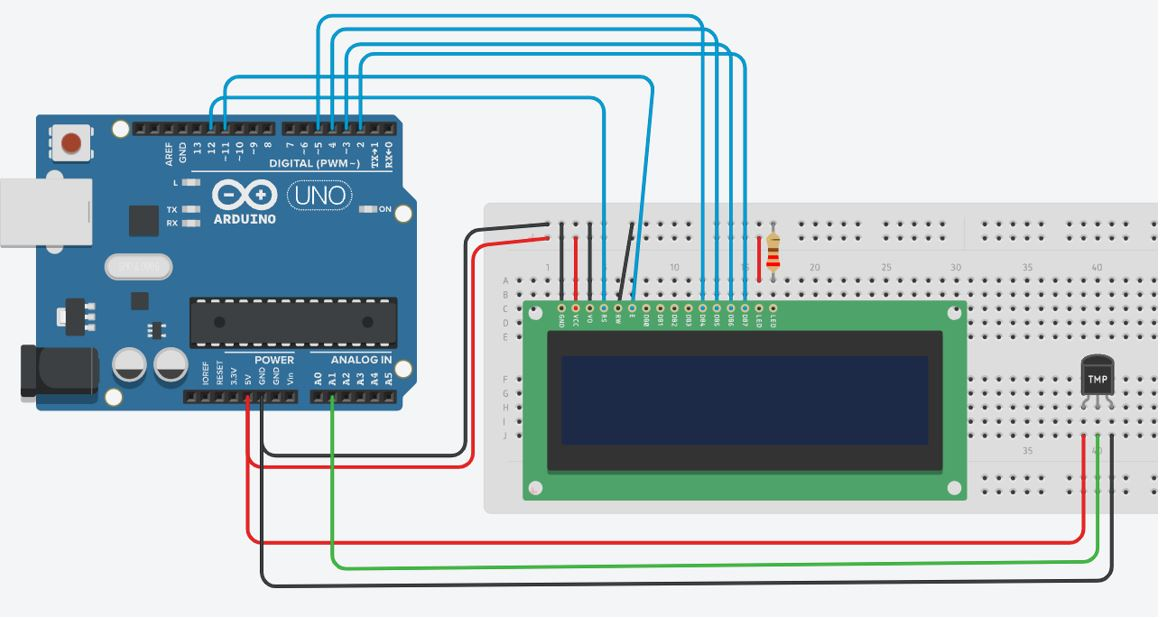 Arduino UNO with TMP36 sensor and 16x2 LCD