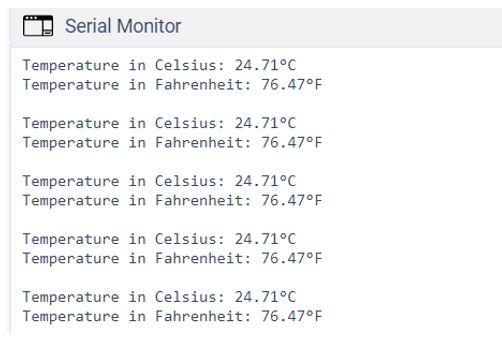 Arduino UNO with TMP36 sensor simple readings demo serial monitor